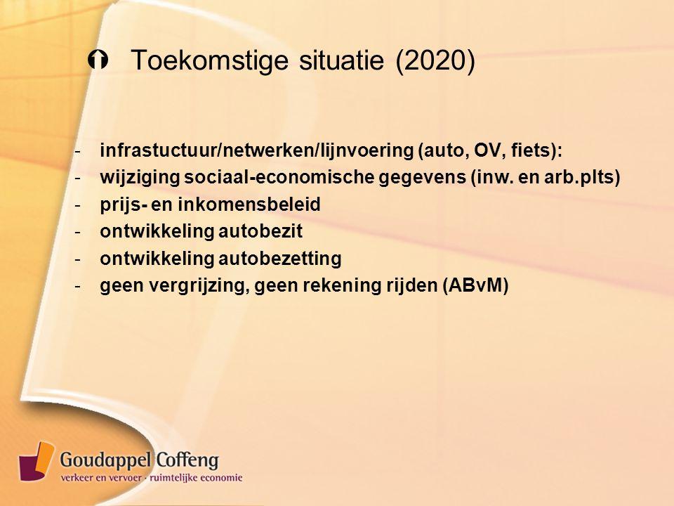  Toekomstige situatie (2020) -infrastuctuur/netwerken/lijnvoering (auto, OV, fiets): -wijziging sociaal-economische gegevens (inw.