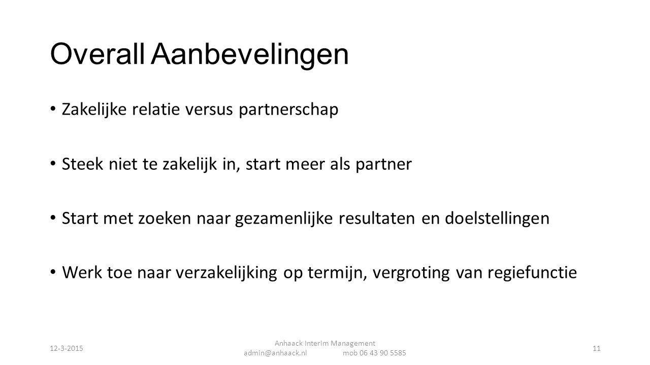 Overall Aanbevelingen Zakelijke relatie versus partnerschap Steek niet te zakelijk in, start meer als partner Start met zoeken naar gezamenlijke resul
