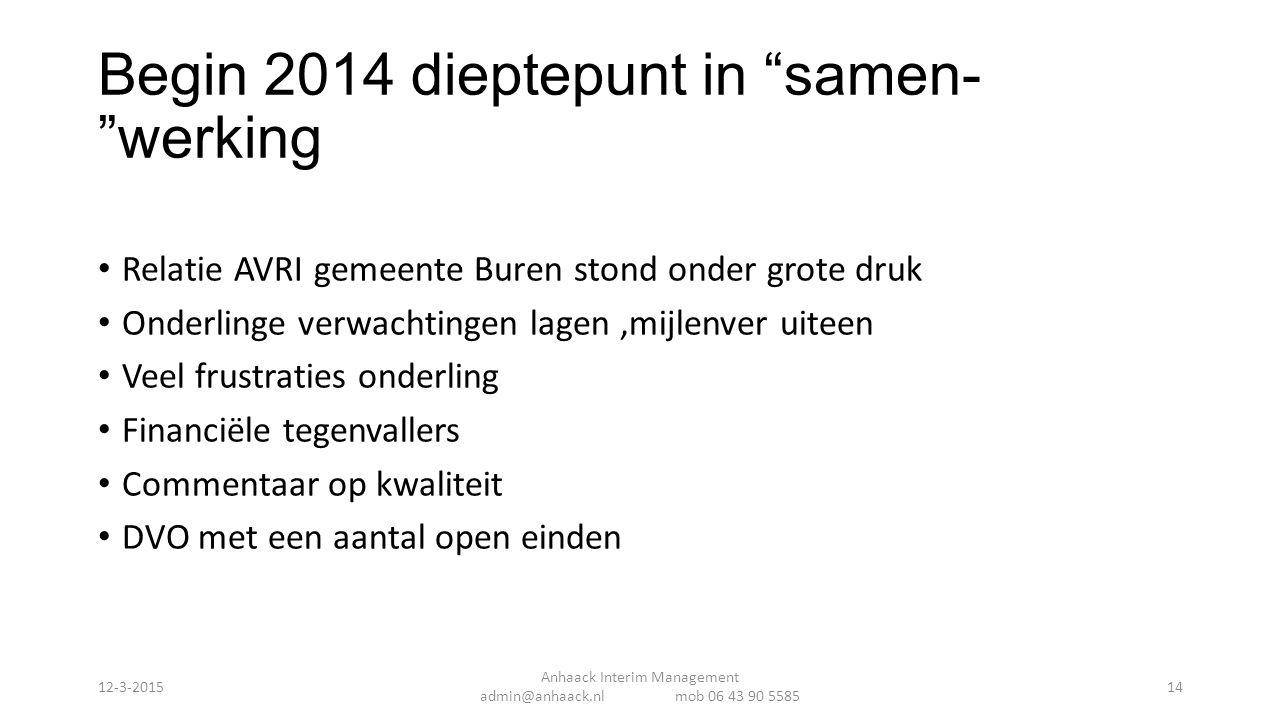 """Begin 2014 dieptepunt in """"samen- """"werking Relatie AVRI gemeente Buren stond onder grote druk Onderlinge verwachtingen lagen,mijlenver uiteen Veel frus"""