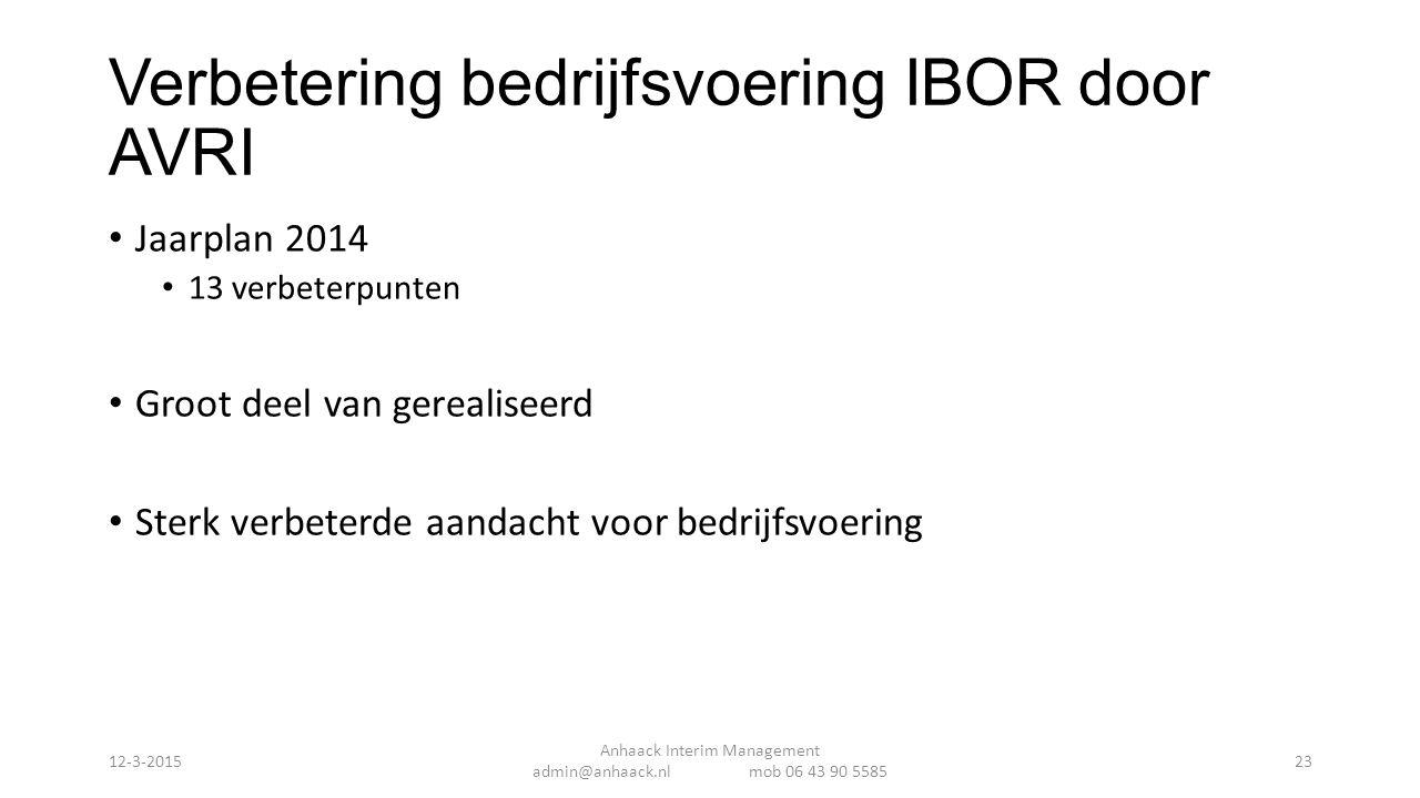 Verbetering bedrijfsvoering IBOR door AVRI Jaarplan 2014 13 verbeterpunten Groot deel van gerealiseerd Sterk verbeterde aandacht voor bedrijfsvoering Anhaack Interim Management admin@anhaack.nl mob 06 43 90 5585 12-3-201523