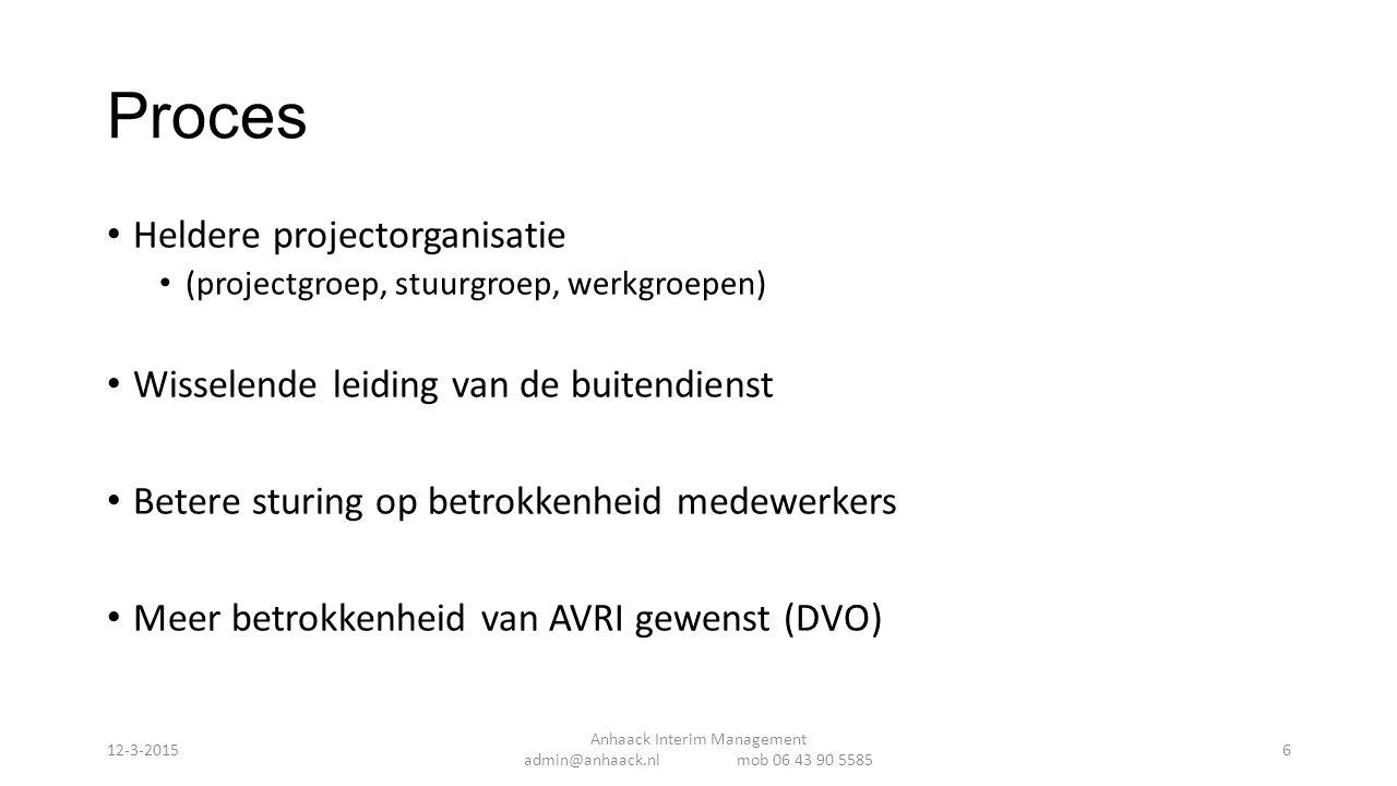 Verbeterplan 3 categorien Managementinformatie Investeren in samenwerking Verbeteren bedrijfsvoering AVRI Anhaack Interim Management admin@anhaack.nl mob 06 43 90 5585 12-3-201517