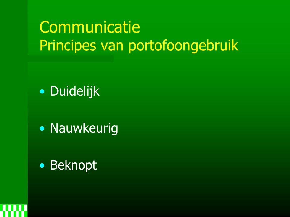Communicatie Principes van portofoongebruik Duidelijk Nauwkeurig Beknopt