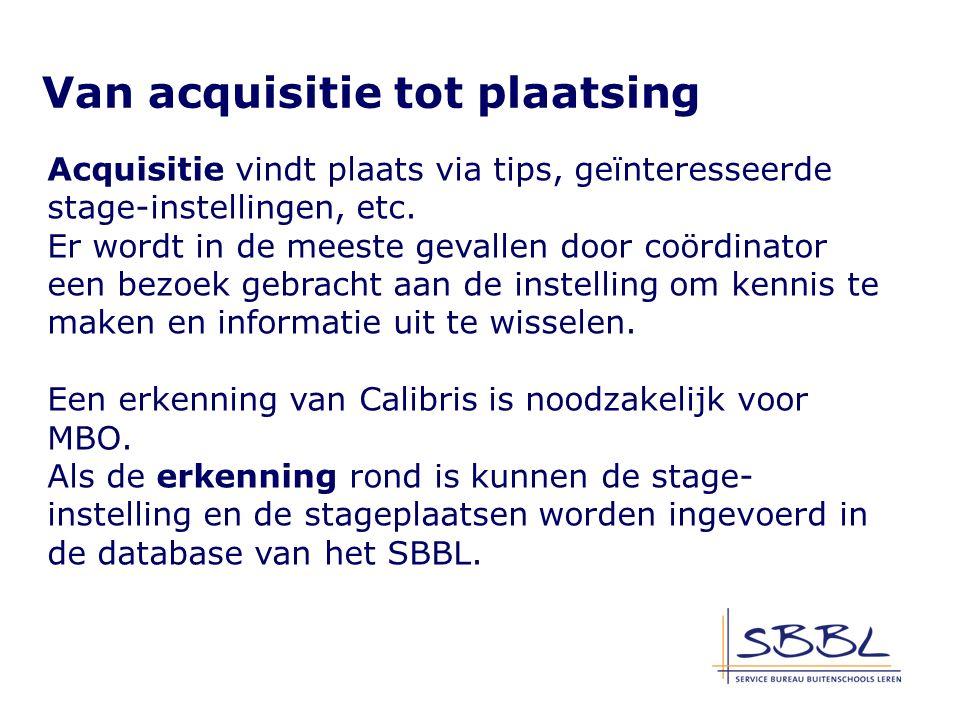 Acquisitie vindt plaats via tips, geïnteresseerde stage-instellingen, etc.
