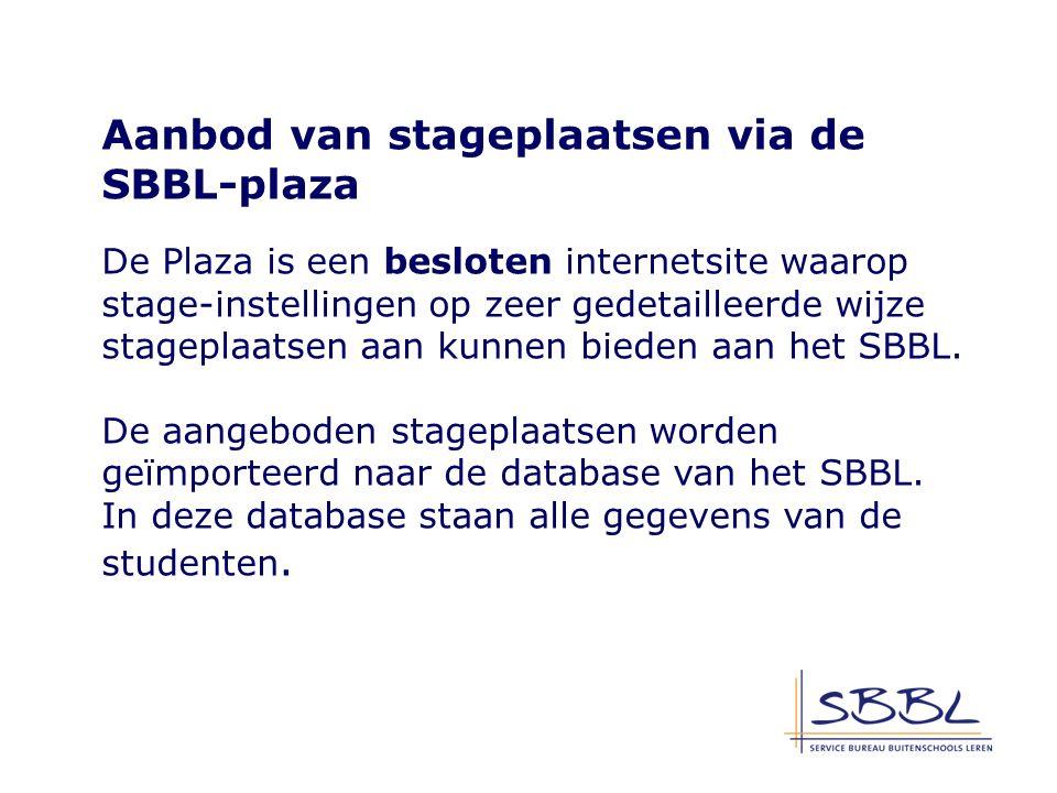 Aanbod van stageplaatsen via de SBBL-plaza De Plaza is een besloten internetsite waarop stage-instellingen op zeer gedetailleerde wijze stageplaatsen aan kunnen bieden aan het SBBL.