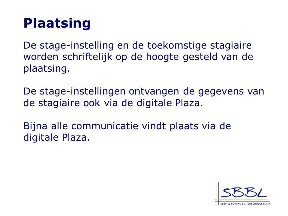 Plaatsing De stage-instelling en de toekomstige stagiaire worden schriftelijk op de hoogte gesteld van de plaatsing.