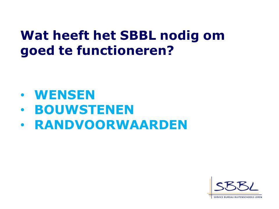 Wat heeft het SBBL nodig om goed te functioneren WENSEN BOUWSTENEN RANDVOORWAARDEN