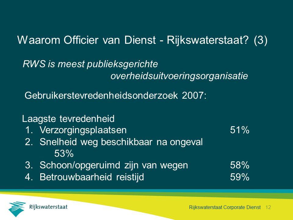 Rijkswaterstaat Corporate Dienst 12 Waarom Officier van Dienst - Rijkswaterstaat? (3) Gebruikerstevredenheidsonderzoek 2007: RWS is meest publieksgeri