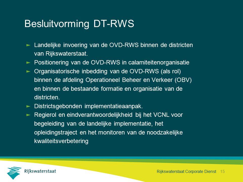 Rijkswaterstaat Corporate Dienst 15 Besluitvorming DT-RWS Projecthistorie Landelijke invoering van de OVD-RWS binnen de districten van Rijkswaterstaat