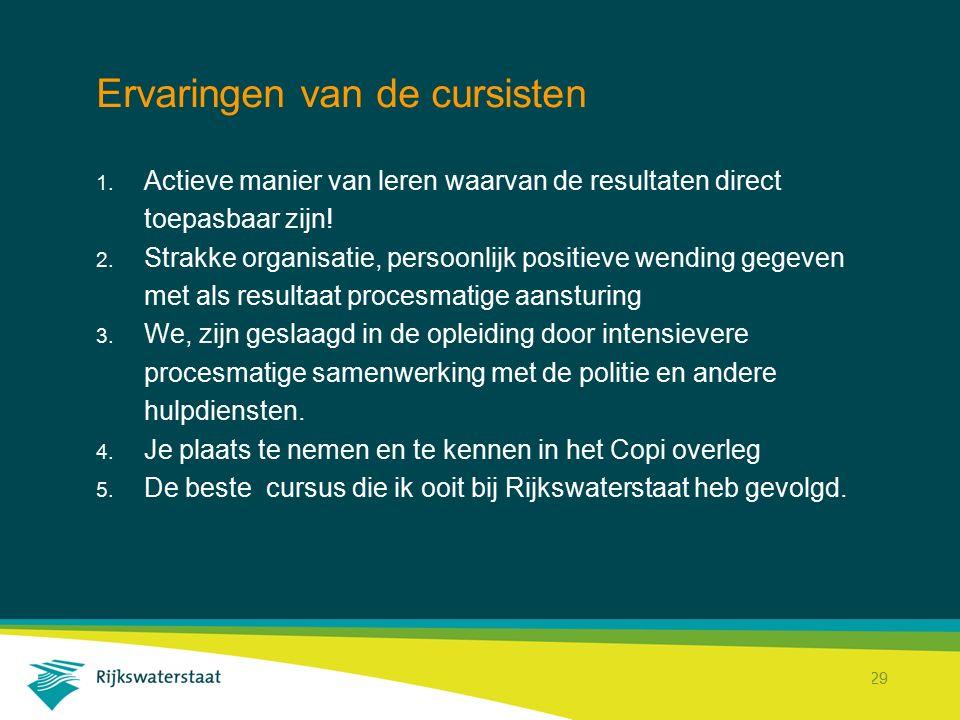 Rijkswaterstaat Corporate Dienst 29 Ervaringen van de cursisten 1. Actieve manier van leren waarvan de resultaten direct toepasbaar zijn! 2. Strakke o