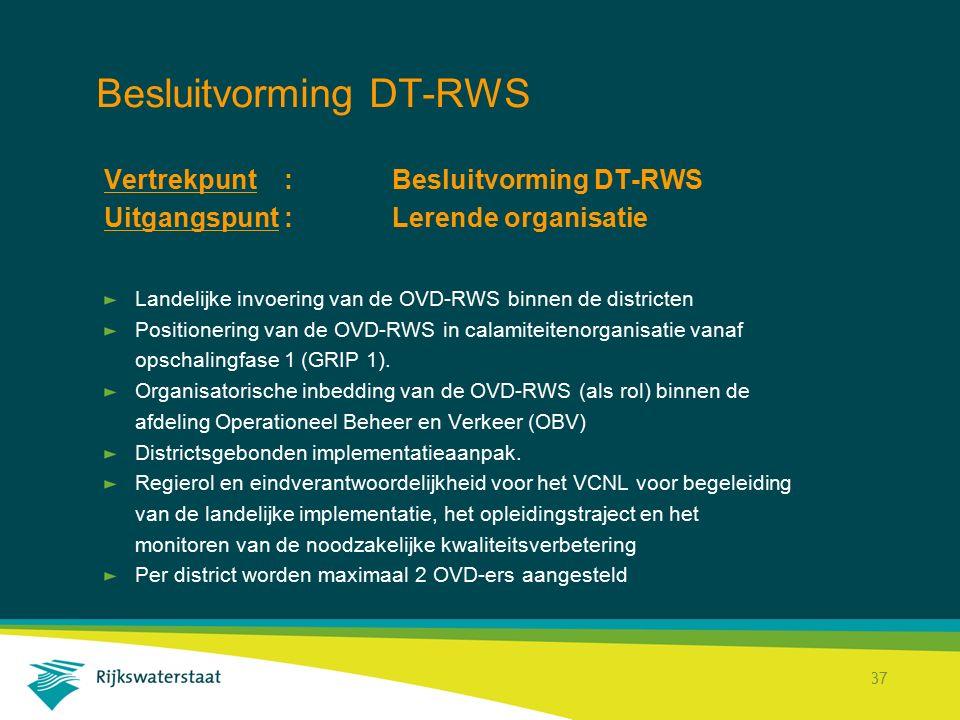 Rijkswaterstaat Corporate Dienst 37 Besluitvorming DT-RWS Vertrekpunt : Besluitvorming DT-RWS Uitgangspunt : Lerende organisatie Landelijke invoering van de OVD-RWS binnen de districten Positionering van de OVD-RWS in calamiteitenorganisatie vanaf opschalingfase 1 (GRIP 1).