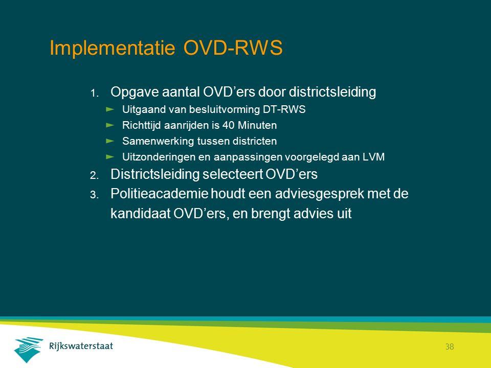 Rijkswaterstaat Corporate Dienst 38 Implementatie OVD-RWS 1. Opgave aantal OVD'ers door districtsleiding Uitgaand van besluitvorming DT-RWS Richttijd
