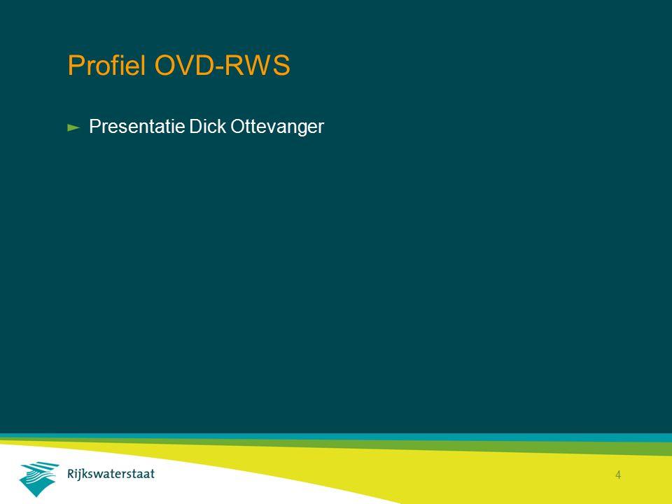 Rijkswaterstaat Corporate Dienst 15 Besluitvorming DT-RWS Projecthistorie Landelijke invoering van de OVD-RWS binnen de districten van Rijkswaterstaat.