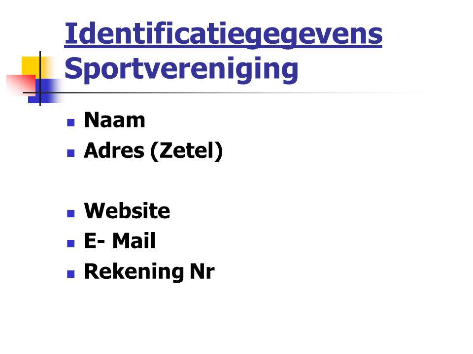 Identificatiegegevens Sportvereniging Naam Adres (Zetel) Website E- Mail Rekening Nr