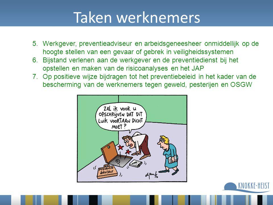 Taken werknemers 5.Werkgever, preventieadviseur en arbeidsgeneesheer onmiddellijk op de hoogte stellen van een gevaar of gebrek in veiligheidssystemen