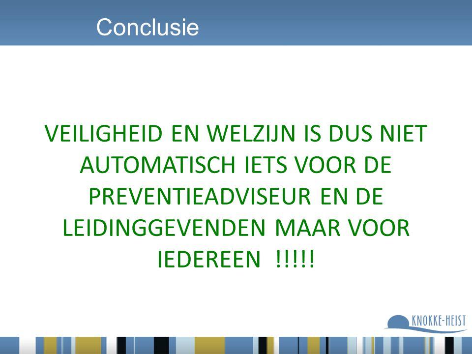 VEILIGHEID EN WELZIJN IS DUS NIET AUTOMATISCH IETS VOOR DE PREVENTIEADVISEUR EN DE LEIDINGGEVENDEN MAAR VOOR IEDEREEN !!!!! Conclusie