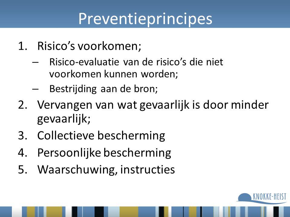 Preventieprincipes 1.Risico's voorkomen; – Risico-evaluatie van de risico's die niet voorkomen kunnen worden; – Bestrijding aan de bron; 2.Vervangen v