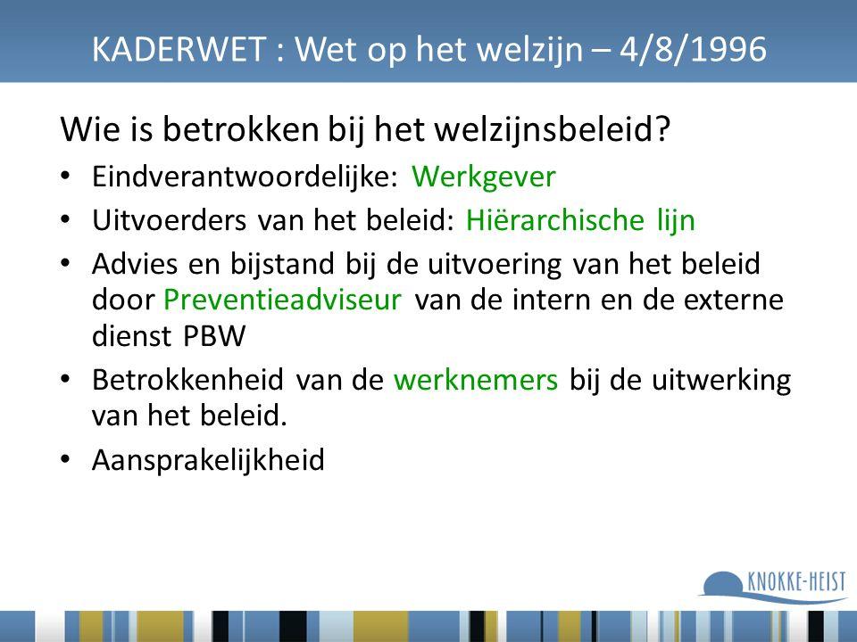 KADERWET : Wet op het welzijn – 4/8/1996 Wie is betrokken bij het welzijnsbeleid? Eindverantwoordelijke: Werkgever Uitvoerders van het beleid: Hiërarc