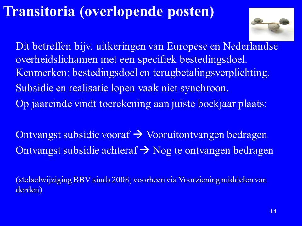 Transitoria (overlopende posten) Dit betreffen bijv. uitkeringen van Europese en Nederlandse overheidslichamen met een specifiek bestedingsdoel. Kenme