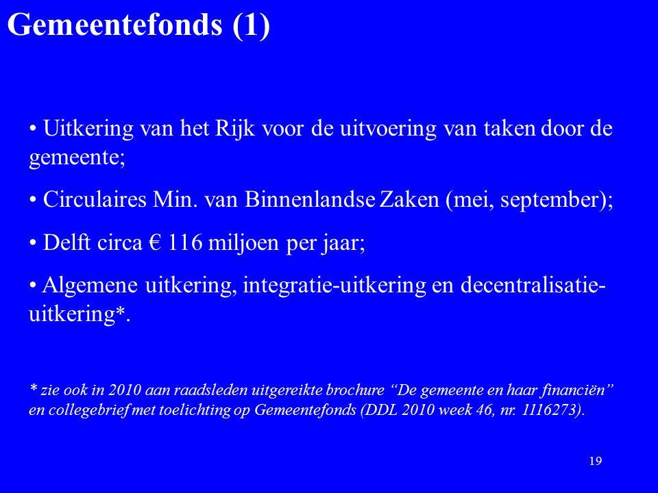 Gemeentefonds (1) Uitkering van het Rijk voor de uitvoering van taken door de gemeente; Circulaires Min. van Binnenlandse Zaken (mei, september); Delf