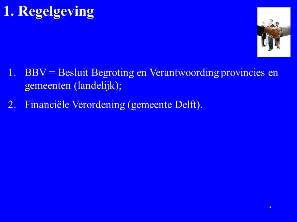 1. Regelgeving 1.BBV = Besluit Begroting en Verantwoording provincies en gemeenten (landelijk); 2.Financiële Verordening (gemeente Delft). 3