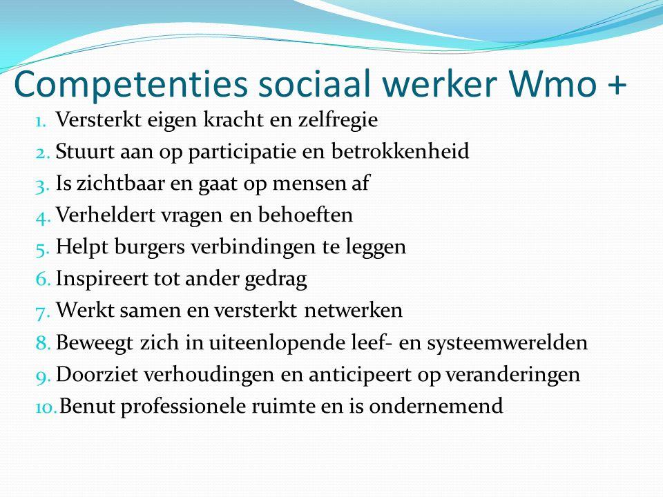Competenties sociaal werker Wmo + 1. Versterkt eigen kracht en zelfregie 2.