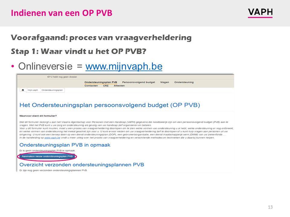 Voorafgaand: proces van vraagverheldering Stap 1: Waar vindt u het OP PVB? Onlineversie = www.mijnvaph.bewww.mijnvaph.be 13