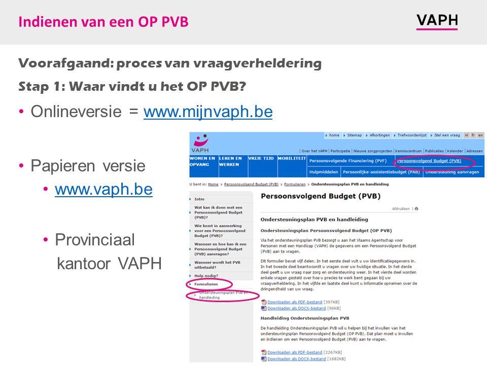 Indienen van een OP PVB Voorafgaand: proces van vraagverheldering Stap 1: Waar vindt u het OP PVB? Onlineversie = www.mijnvaph.bewww.mijnvaph.be Papie