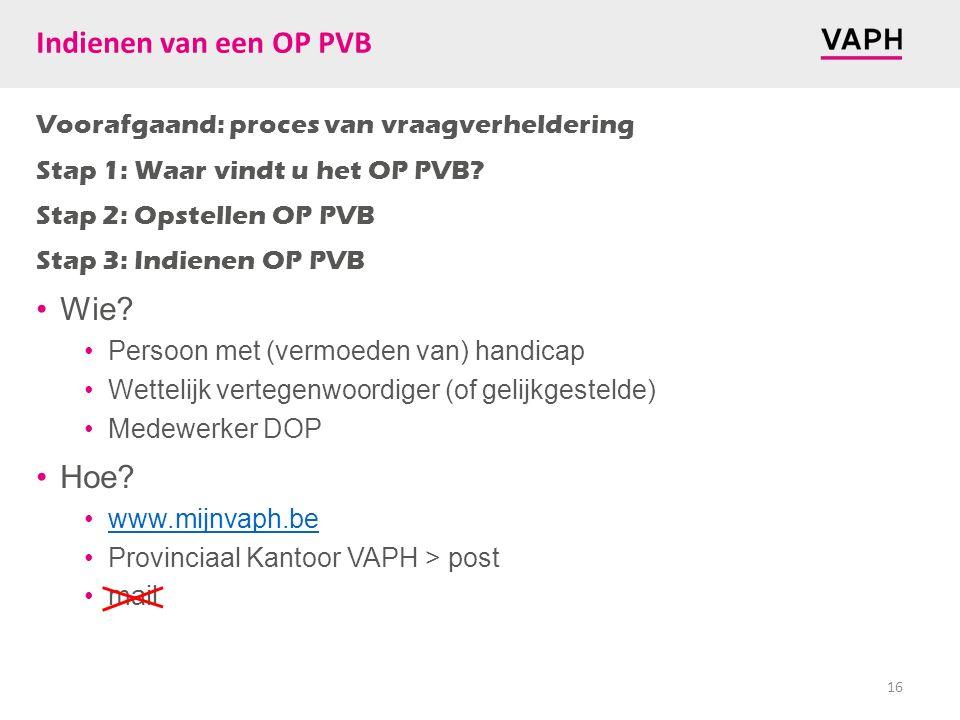 Indienen van een OP PVB Voorafgaand: proces van vraagverheldering Stap 1: Waar vindt u het OP PVB? Stap 2: Opstellen OP PVB Stap 3: Indienen OP PVB Wi