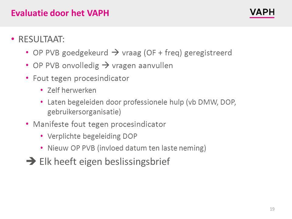 Evaluatie door het VAPH RESULTAAT: OP PVB goedgekeurd  vraag (OF + freq) geregistreerd OP PVB onvolledig  vragen aanvullen Fout tegen procesindicato