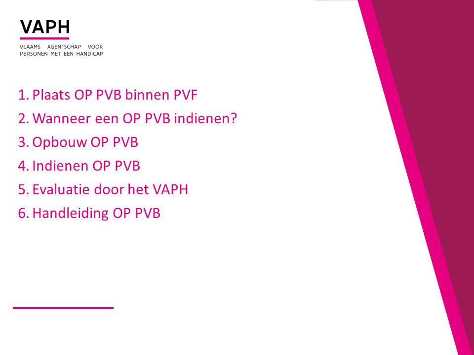 1.Plaats OP PVB binnen PVF 2.Wanneer een OP PVB indienen.