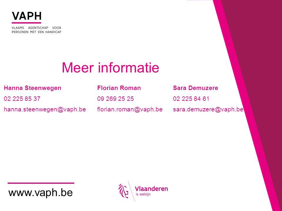 Meer informatie www.vaph.be Hanna Steenwegen Florian RomanSara Demuzere 02 225 85 37 09 269 25 2502 225 84 61 hanna.steenwegen@vaph.be florian.roman@v