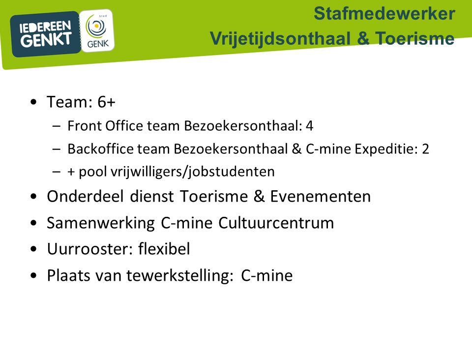 Team: 6+ –Front Office team Bezoekersonthaal: 4 –Backoffice team Bezoekersonthaal & C-mine Expeditie: 2 –+ pool vrijwilligers/jobstudenten Onderdeel d