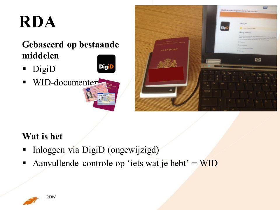 RDA Gebaseerd op bestaande middelen  DigiD  WID-documenten Wat is het  Inloggen via DigiD (ongewijzigd)  Aanvullende controle op 'iets wat je hebt' = WID