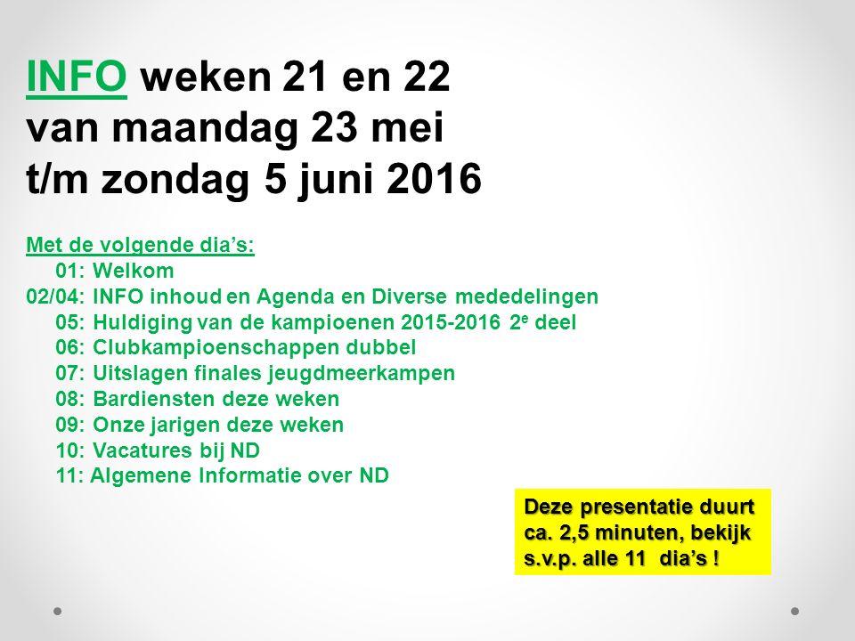 INFO weken 21 en 22 van maandag 23 mei t/m zondag 5 juni 2016 Met de volgende dia's: 01: Welkom 02/04: INFO inhoud en Agenda en Diverse mededelingen 0