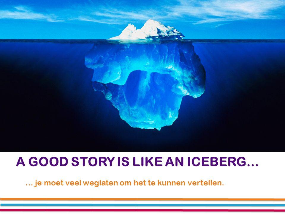 A GOOD STORY IS LIKE AN ICEBERG… … je moet veel weglaten om het te kunnen vertellen.