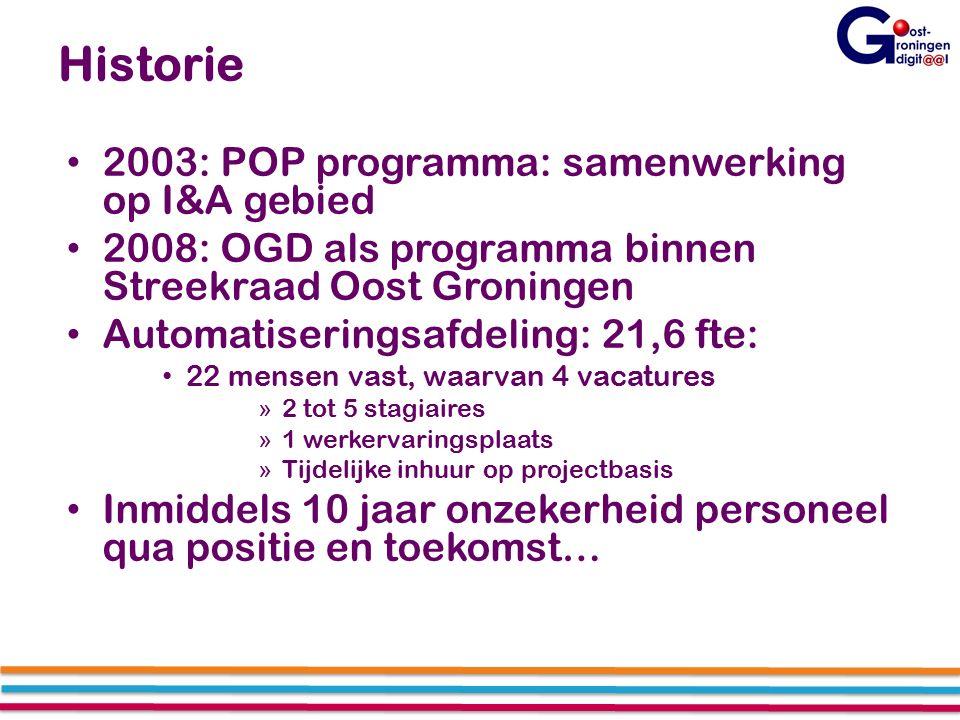 Historie 2003: POP programma: samenwerking op I&A gebied 2008: OGD als programma binnen Streekraad Oost Groningen Automatiseringsafdeling: 21,6 fte: 22 mensen vast, waarvan 4 vacatures » 2 tot 5 stagiaires » 1 werkervaringsplaats » Tijdelijke inhuur op projectbasis Inmiddels 10 jaar onzekerheid personeel qua positie en toekomst…