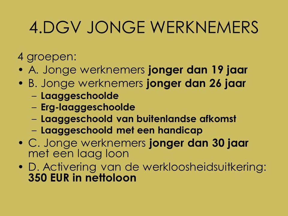 4.DGV JONGE WERKNEMERS 4 groepen: A. Jonge werknemers jonger dan 19 jaar B.