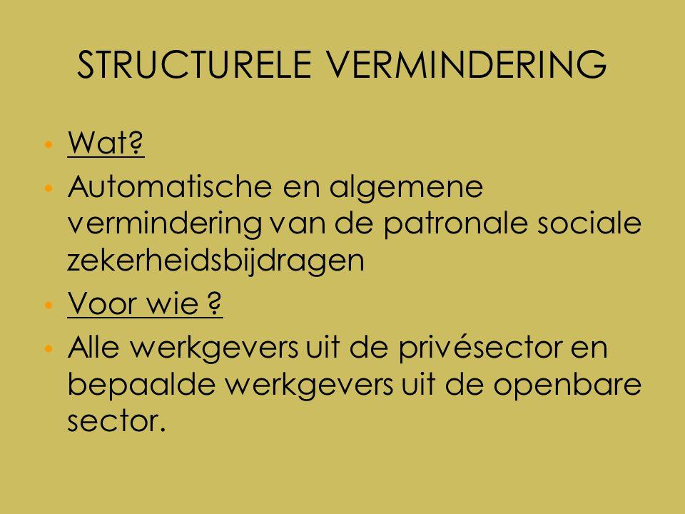 Vlaamse premie 50+ Cumulregels Cumuleerbaar met structurele vermindering Cumuleerbaar met doelgroepvermindering Niet cumuleer met werkuitkering –Sinds 1 oktober 2010