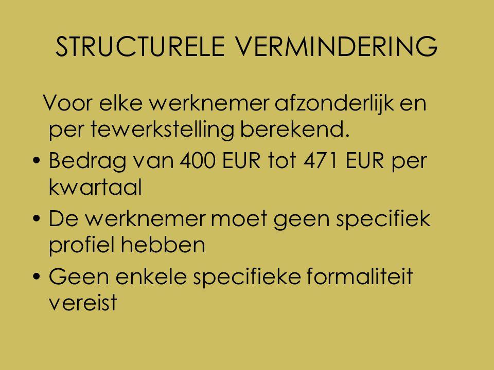 6.DGV HERSTRUCTURERING, FAILLISSEMENT, SLUITING, VEREFFENING VAN ONDERNEMING Voordelen – RSZ-vermindering voor de nieuwe werkgever Afhankelijk van de leeftijd voorwaarde: loon < 6030 € per kwartaal (< 30 jaar) - < 12.000 € per kwartaal (  30 jaar) – RSZ-voordeel voor de werknemer 133,33 € (x 1,08) per maand voorwaarde: loon < 2010 € per maand (< 30 jaar) - < 4.000 € per maand (  30 jaar) – terugbetaling van de outplacementkosten van de ex-werkgever (behalve bij faillissement, sluiting of vereffening van onderneming)