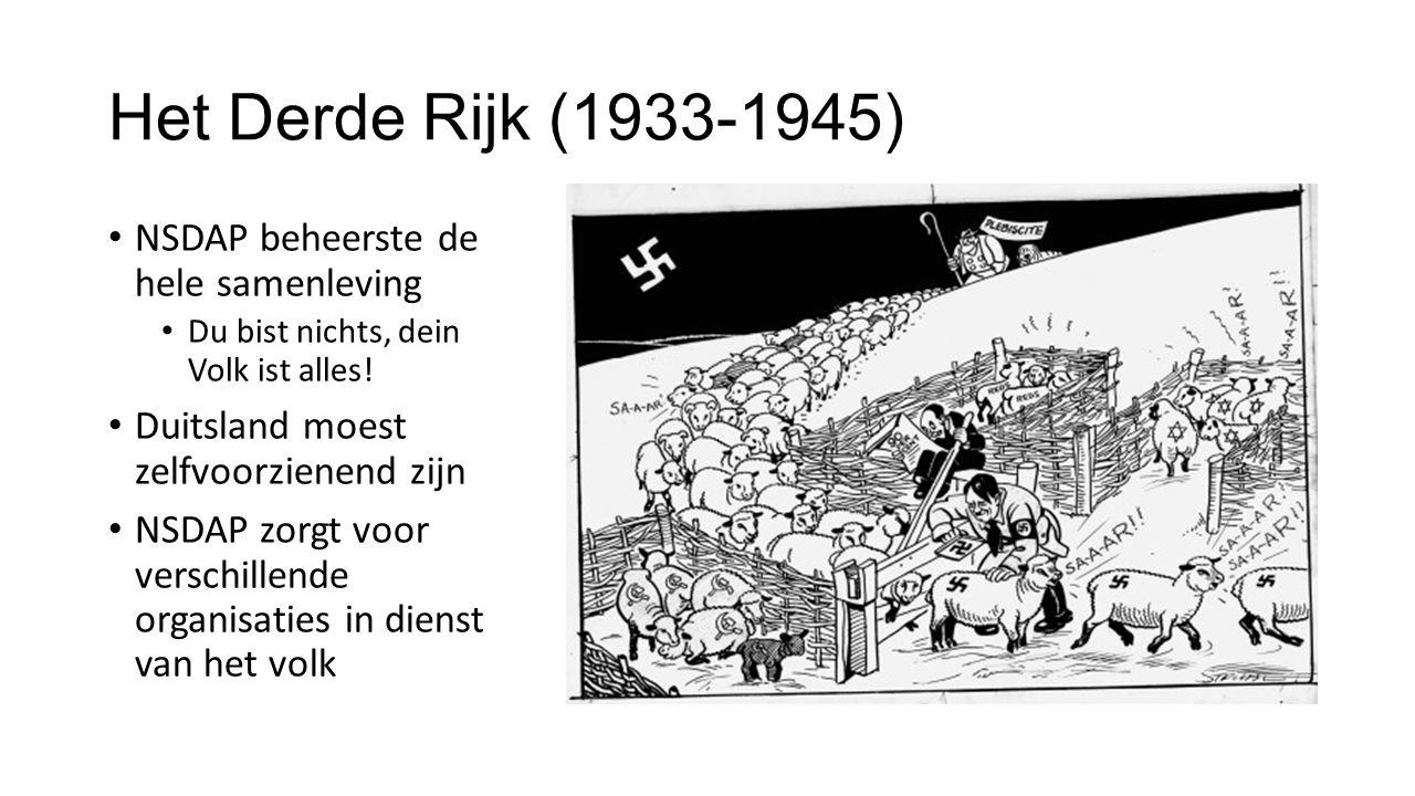 Het Derde Rijk (1933-1945) NSDAP beheerste de hele samenleving Du bist nichts, dein Volk ist alles.