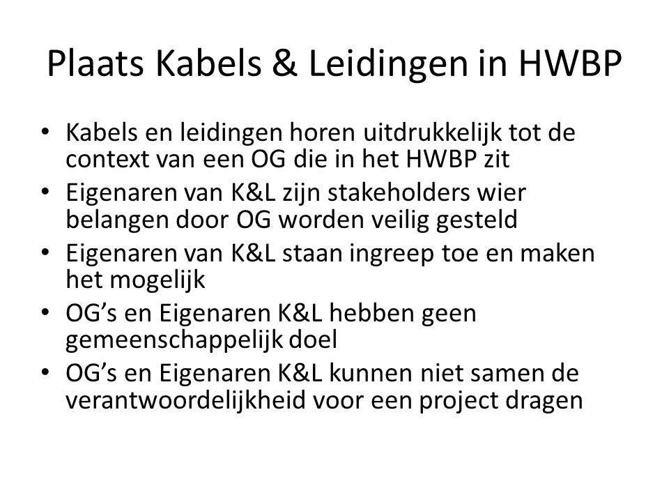 Plaats Kabels & Leidingen in HWBP Kabels en leidingen horen uitdrukkelijk tot de context van een OG die in het HWBP zit Eigenaren van K&L zijn stakeholders wier belangen door OG worden veilig gesteld Eigenaren van K&L staan ingreep toe en maken het mogelijk OG's en Eigenaren K&L hebben geen gemeenschappelijk doel OG's en Eigenaren K&L kunnen niet samen de verantwoordelijkheid voor een project dragen