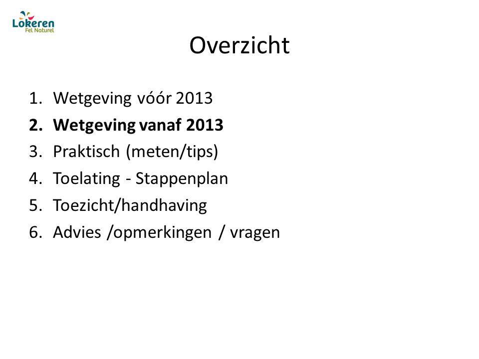 Overzicht 1.Wetgeving vóór 2013 2.Wetgeving vanaf 2013 3.Praktisch (meten/tips) 4.Toelating - Stappenplan 5.Toezicht/handhaving 6.Advies /opmerkingen / vragen