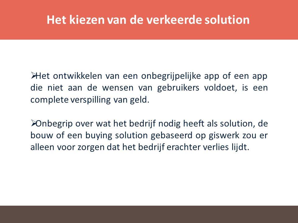 Het kiezen van de verkeerde solution  Het ontwikkelen van een onbegrijpelijke app of een app die niet aan de wensen van gebruikers voldoet, is een complete verspilling van geld.