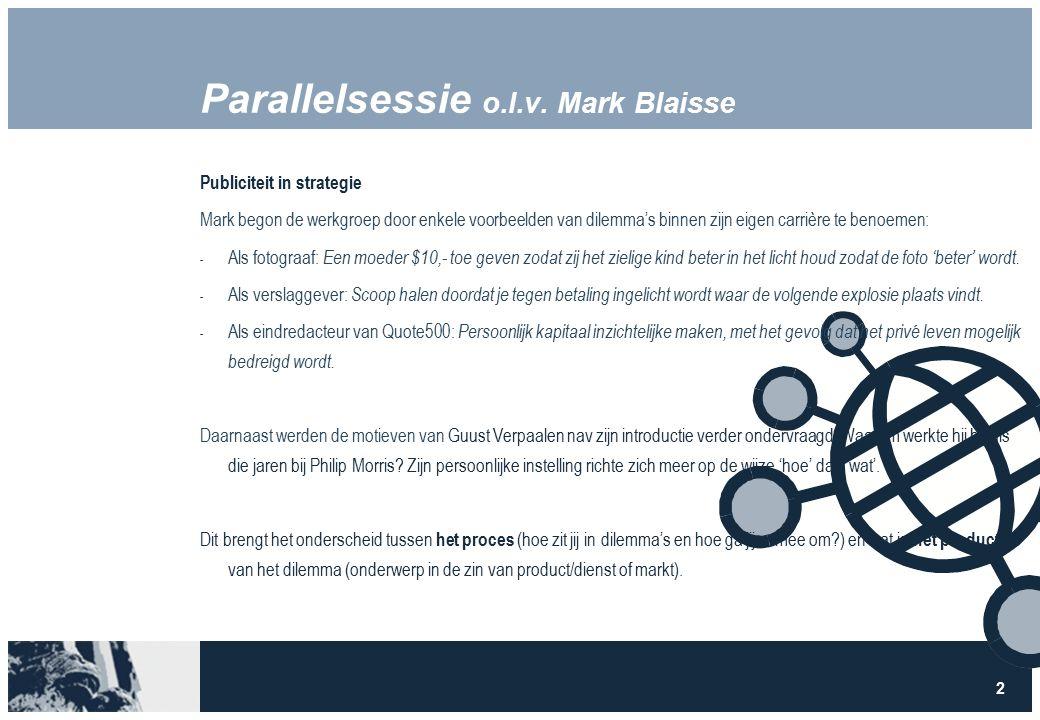 3 Parallelsessie o.l.v.Mark Blaisse ProductProces In welke mate is wat bepalend.