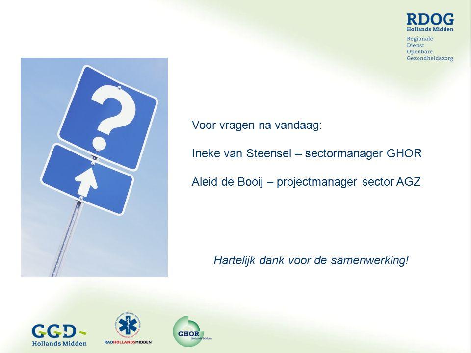 Voor vragen na vandaag: Ineke van Steensel – sectormanager GHOR Aleid de Booij – projectmanager sector AGZ Hartelijk dank voor de samenwerking!