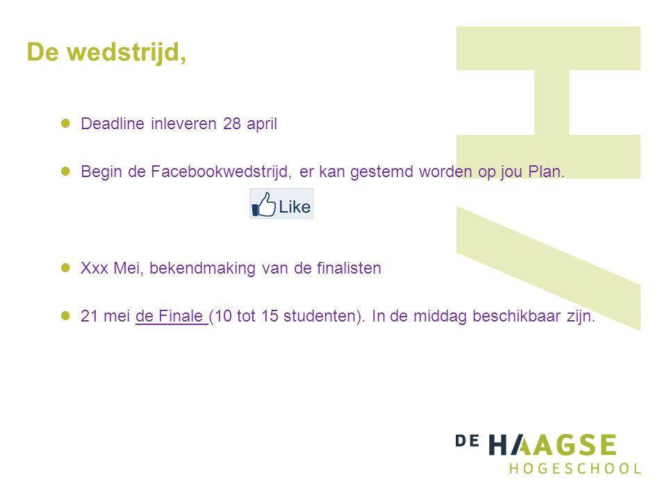 De wedstrijd, Deadline inleveren 28 april Begin de Facebookwedstrijd, er kan gestemd worden op jou Plan.