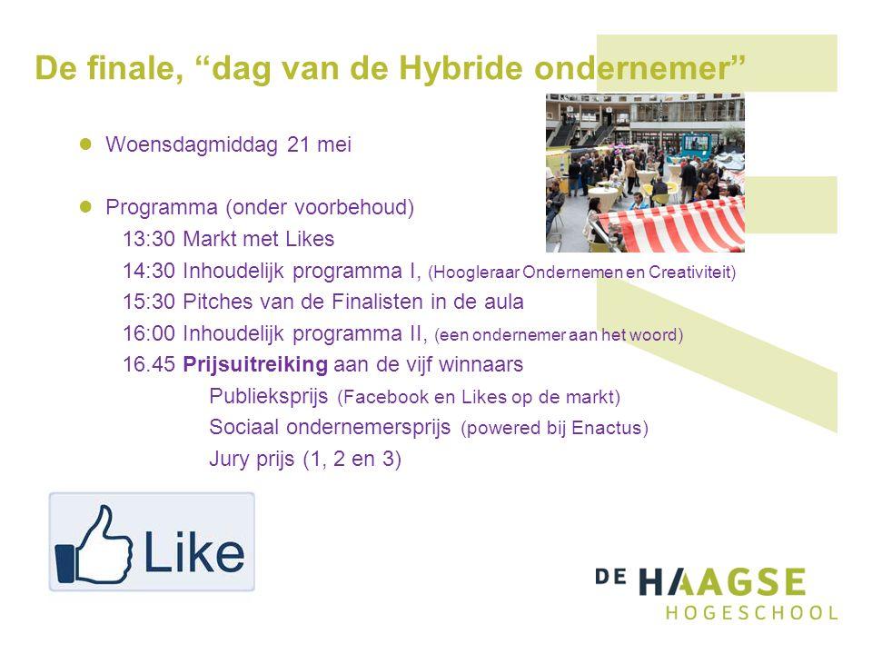 De finale, dag van de Hybride ondernemer Woensdagmiddag 21 mei Programma (onder voorbehoud) 13:30 Markt met Likes 14:30 Inhoudelijk programma I, (Hoogleraar Ondernemen en Creativiteit) 15:30 Pitches van de Finalisten in de aula 16:00 Inhoudelijk programma II, (een ondernemer aan het woord) 16.45 Prijsuitreiking aan de vijf winnaars Publieksprijs (Facebook en Likes op de markt) Sociaal ondernemersprijs (powered bij Enactus) Jury prijs (1, 2 en 3)