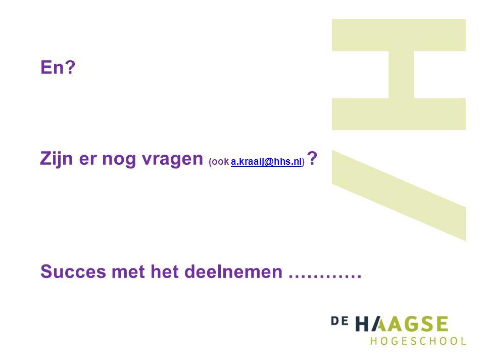 En Zijn er nog vragen (ook a.kraaij@hhs.nl) Succes met het deelnemen …………a.kraaij@hhs.nl