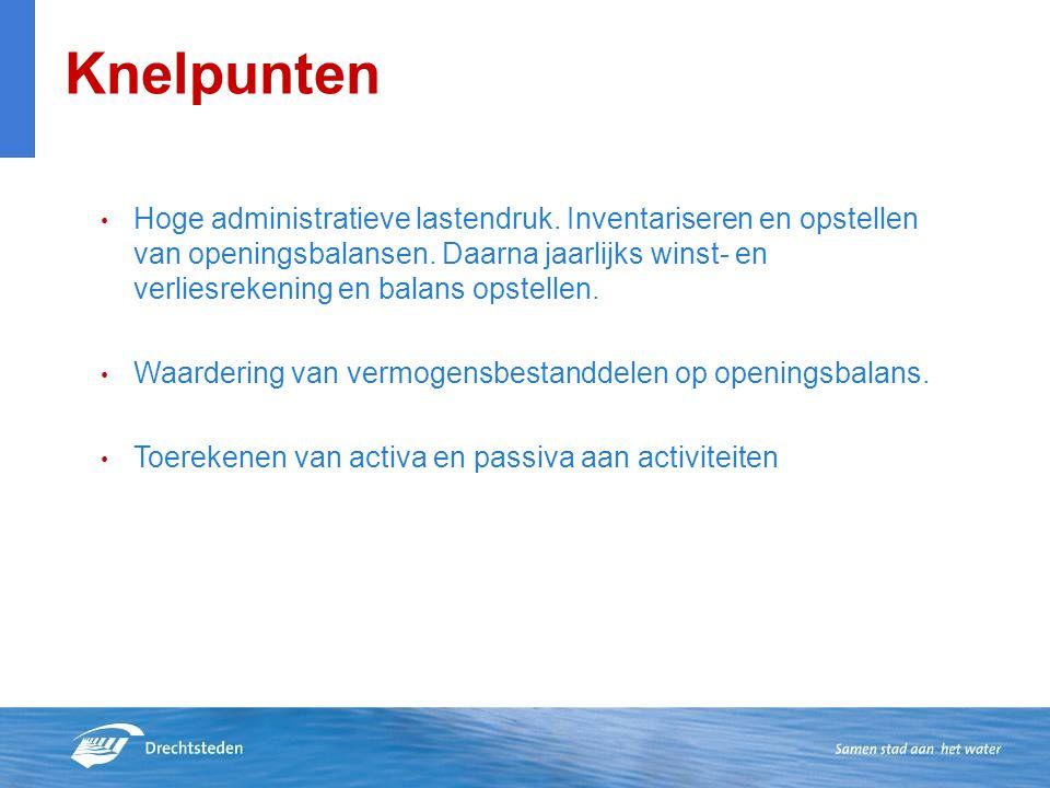 Knelpunten Hoge administratieve lastendruk. Inventariseren en opstellen van openingsbalansen.