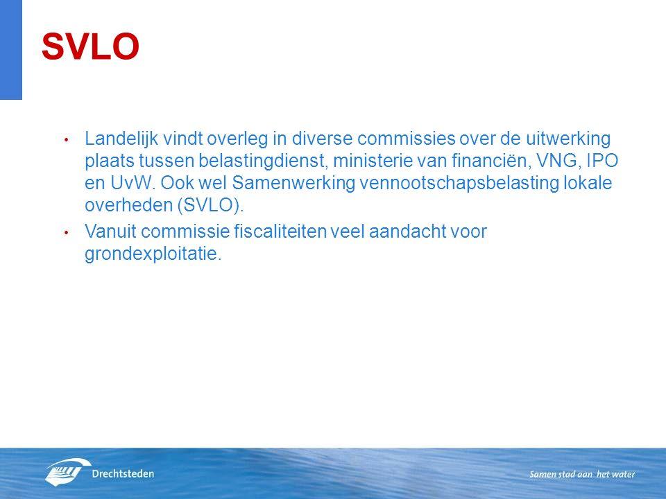 SVLO Landelijk vindt overleg in diverse commissies over de uitwerking plaats tussen belastingdienst, ministerie van financiën, VNG, IPO en UvW.